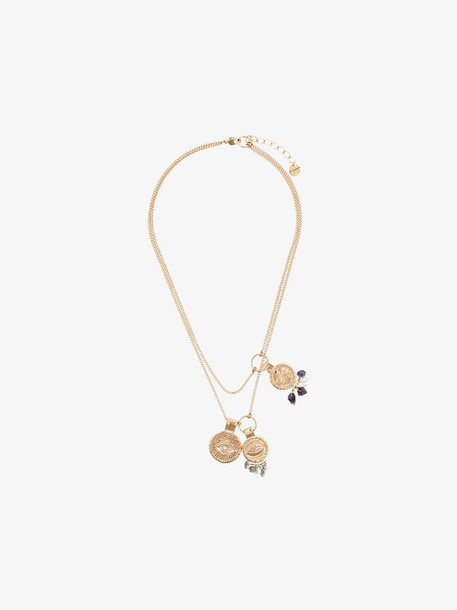 Givenchy gold tone coin gemstone necklace