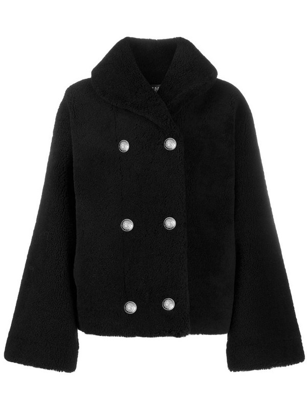 Balmain fluffy double-breasted coat in black