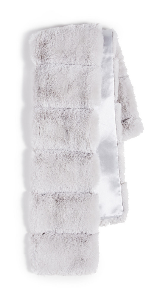 Adrienne Landau Faux Fur Pull Thru Scarf in grey