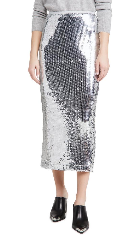 En Saison Sequins Midi Skirt in silver
