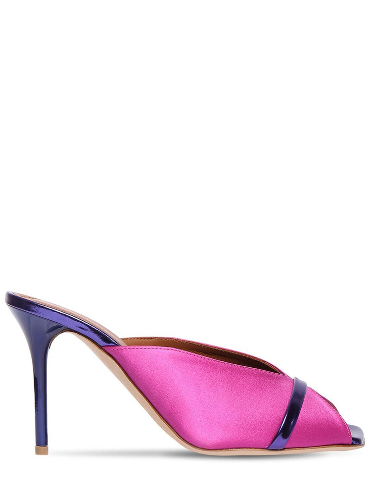 MALONE SOULIERS 85mm Lucia Satin Mules in purple