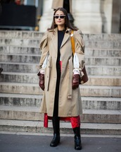 coat,trench coat,alexander mcqueen,puffed sleeves,black boots,knee high boots,skinny jeans,long cardigan,top,brown bag