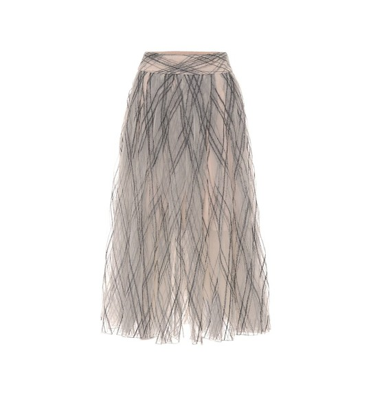 Brunello Cucinelli Embellished tulle maxi skirt in grey