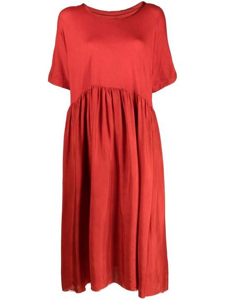 Uma Wang short-sleeve pleat-detail dress in red