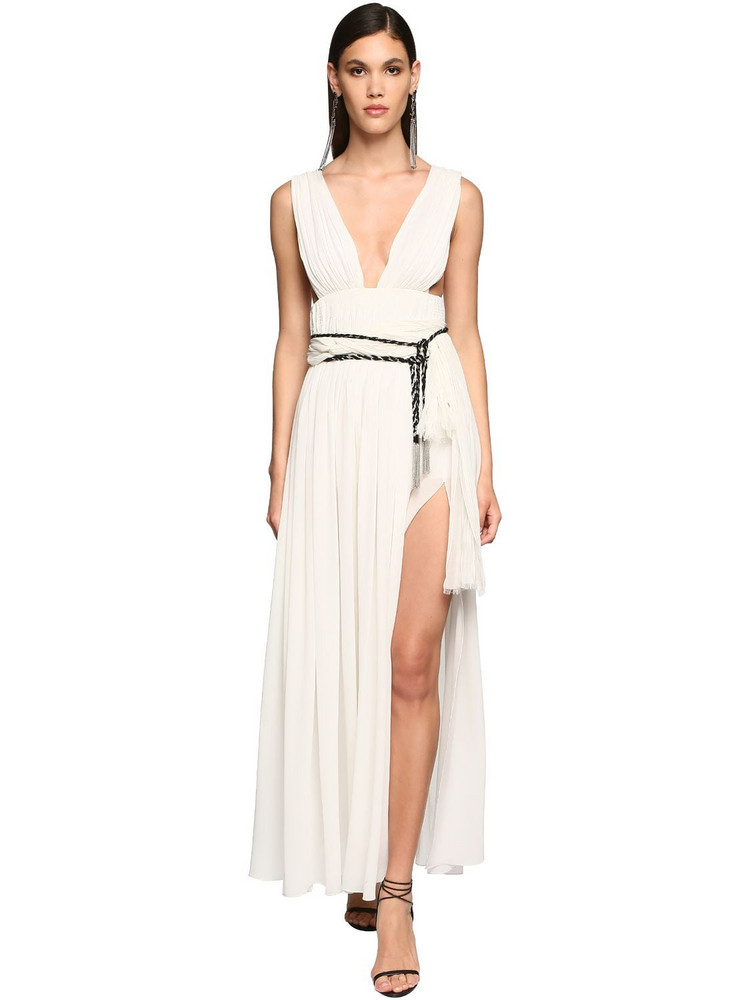 SAINT LAURENT Belted Silk Georgette Long Dress in white