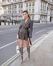 jacket,grey blazer,fendi,belt,knee high boots,grey boots,plaid,heel boots,white bag