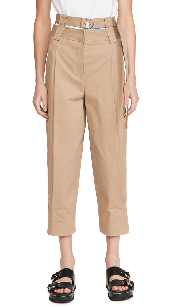 Tibi Double Waisted Sculpted Pants in khaki