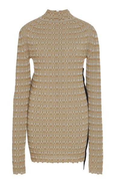 Jil Sander Jacquard-Knit Stretch-Cotton Turtleneck Sweater in neutral