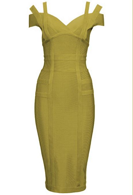 Strap Bardot Bandage Dress Olive Green