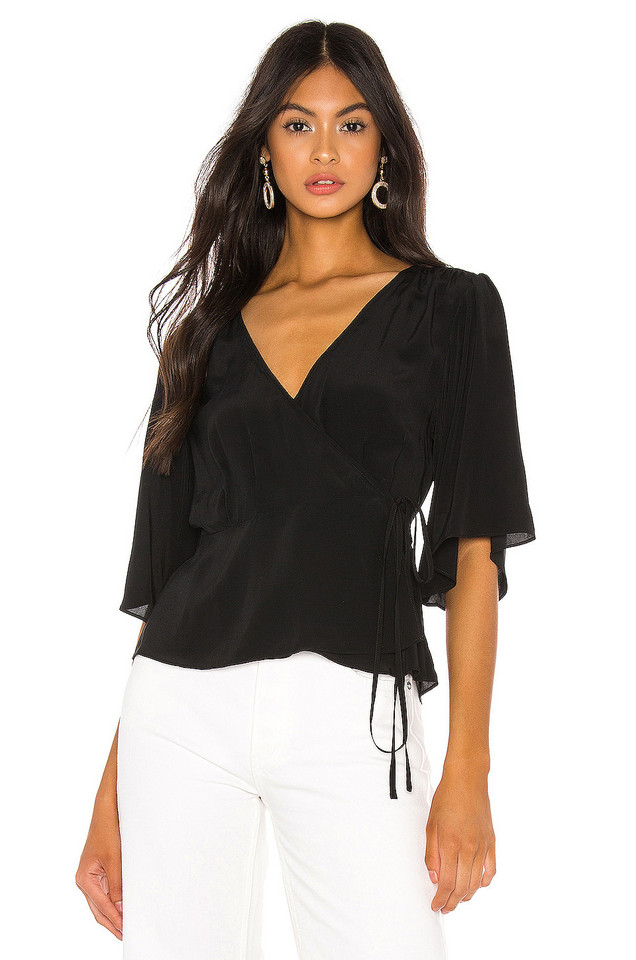 7 For All Mankind Wrap Top in black