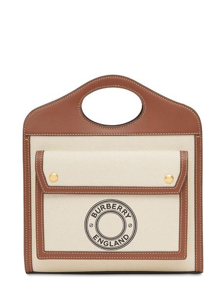 BURBERRY Mini Logo Canvas & Leather Tote in natural / tan