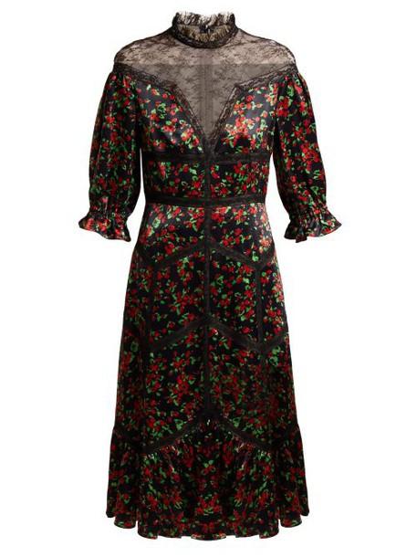 Valentino - Panelled Floral Print Satin Dress - Womens - Black Multi