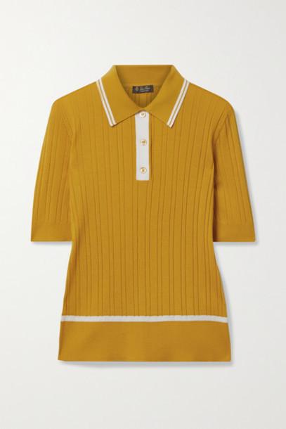 Loro Piana - Benat Striped Ribbed Cashmere And Silk-blend Polo Shirt - Saffron