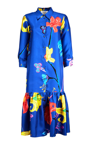 La DoubleJ Getting My Croissant Printed Button-Up Silk Dress in blue