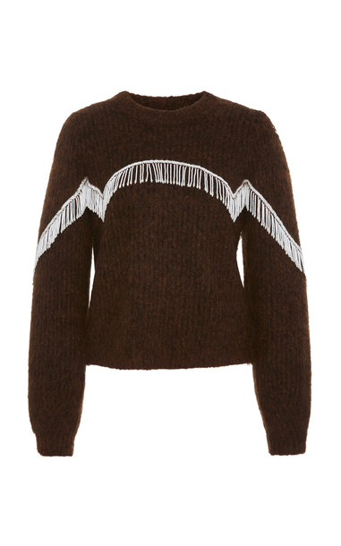 Ganni Beaded Fringed Cable-Knit Sweater in brown