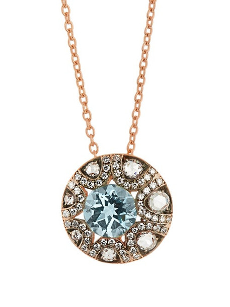 Selim Mouzannar - Diamond, Aquamarine & 18kt Gold Necklace - Womens - Pink Gold