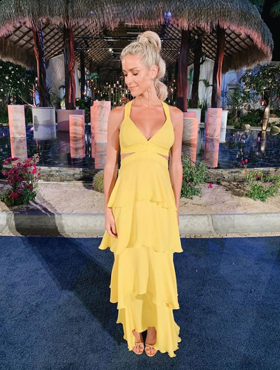 dress summer summer dress maxi dress yellow yellow dress celebrity kristin cavallari ruffle ruffle dress