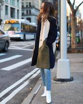 jeans,cropped jeans,white boots,heel boots,straight jeans,coat,white turtleneck top
