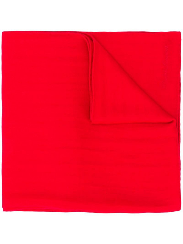 Ralph Lauren Collection embroidered logo cashmere scarf in red