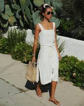 dress,white dress,midi dress,sleeveless,slit dress,flat sandals,slide shoes,shoulder bag