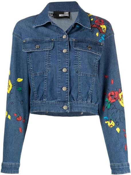Love Moschino floral-print denim jacket in blue