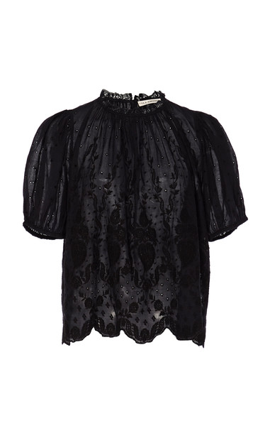 Ulla Johnson Emmie Cotton Eyelet Blouse in black