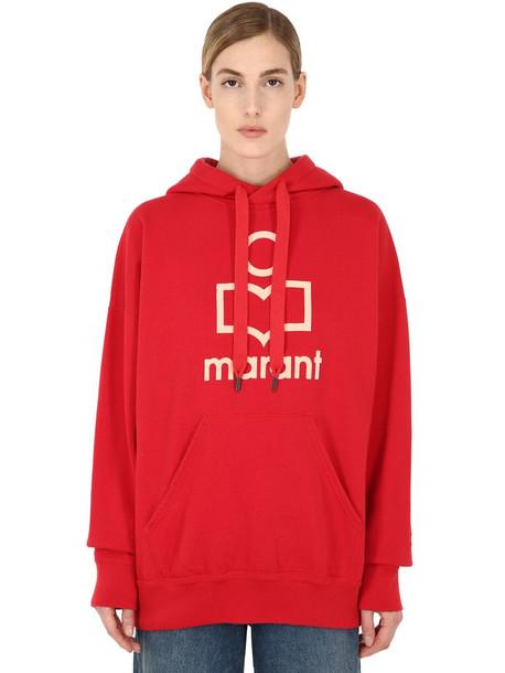 ISABEL MARANT ÉTOILE Oversized Logo Cotton Sweatshirt Hoodie in red / white