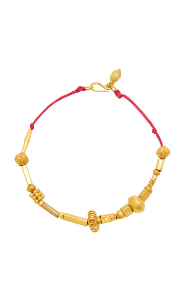 Pippa Small Ancient Mixed Bead Bracelet On Cord in gold