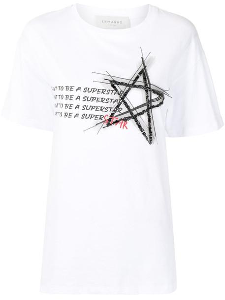 ERMANNO FIRENZE Superstar beaded T-shirt - White