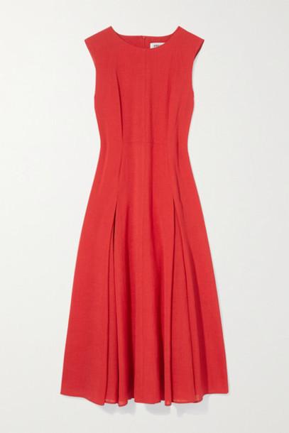Cefinn - Melina Pleated Voile Midi Dress - Red