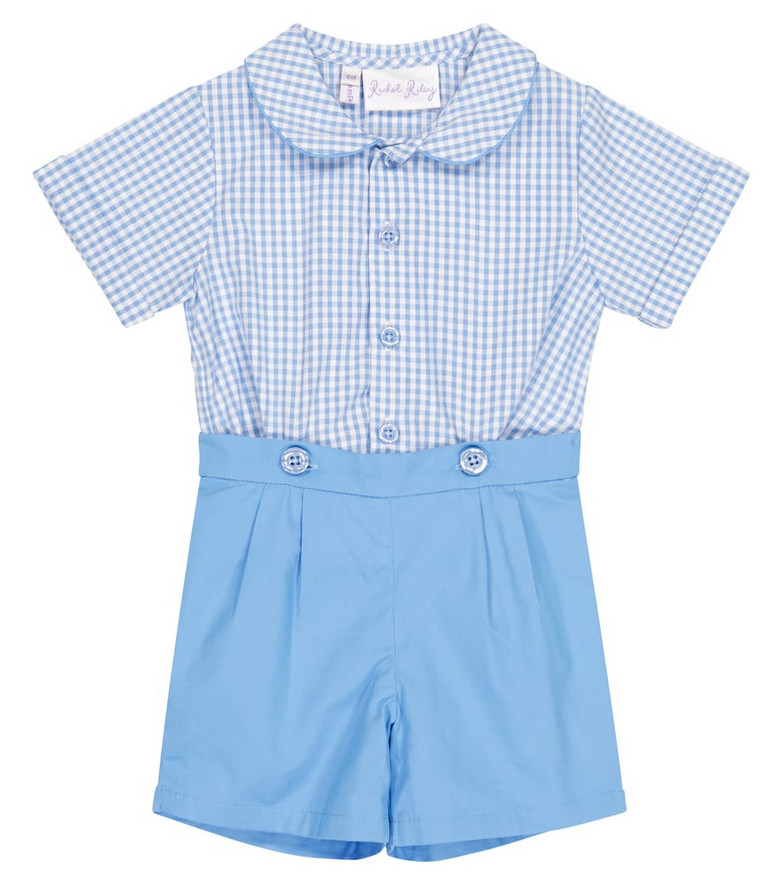 Rachel Riley Baby gingham cotton shirt and shorts set in blue