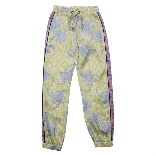 John Richmond Floral Print Yellow Acetate Pants