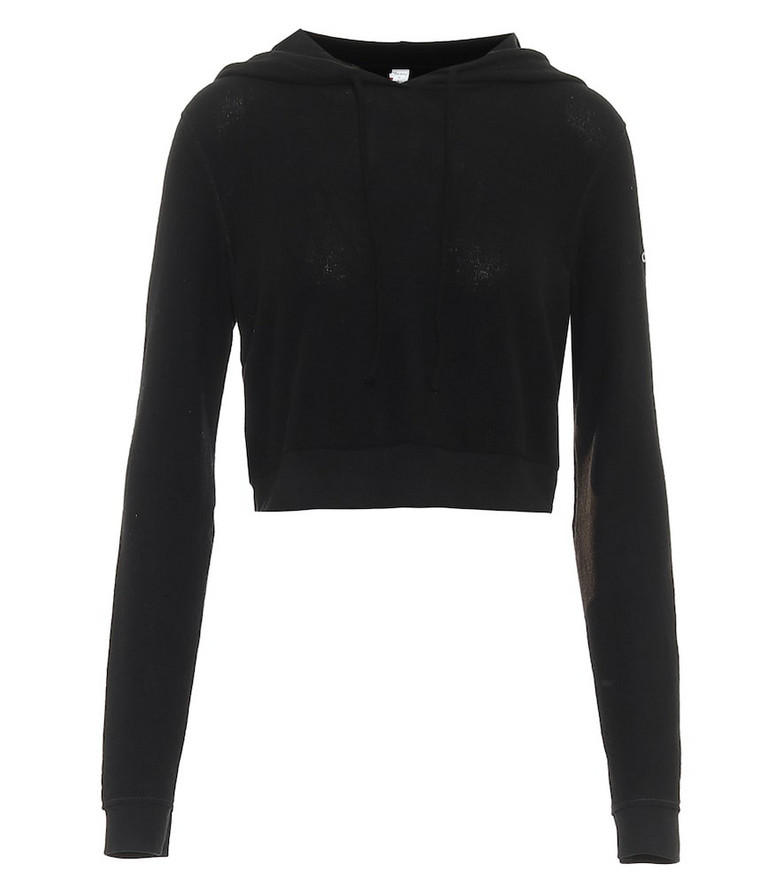 Alo Yoga Getaway cropped stretch-jersey hoodie in black