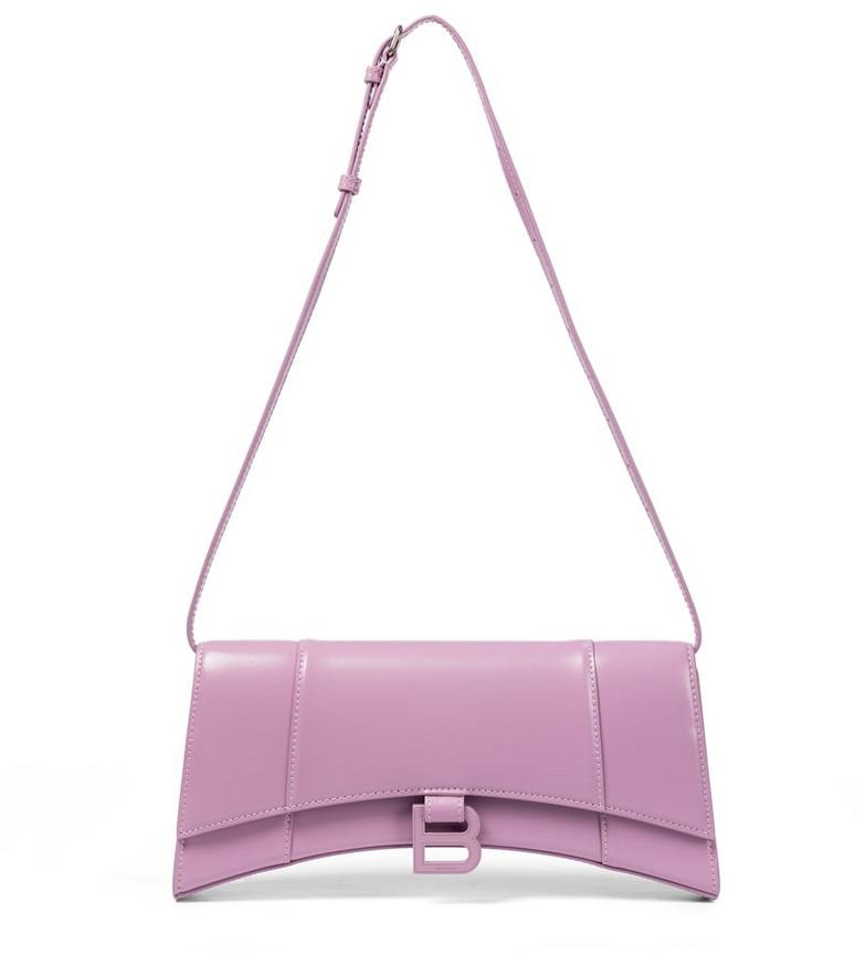 Balenciaga Hourglass Sling leather shoulder bag in purple