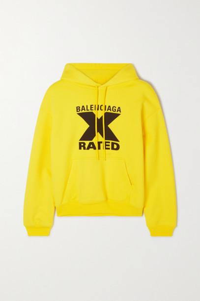 Balenciaga - Printed Cotton-jersey Hoodie - Yellow