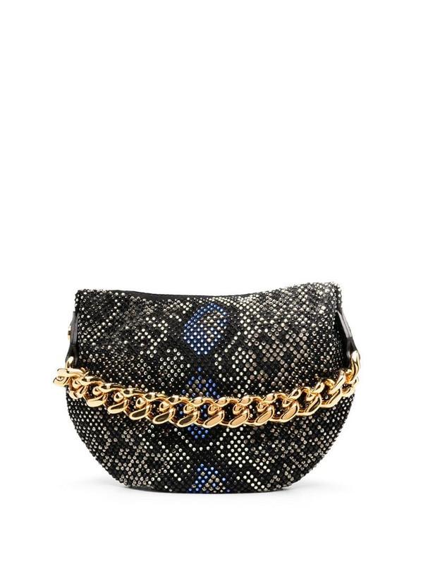 Versace python-pattern studded pouch in black