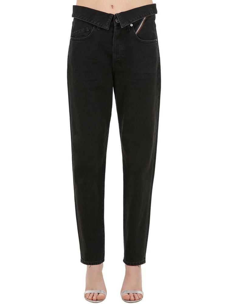 JEAN ATELIER High Waist Straight Cotton Denim Jeans in black