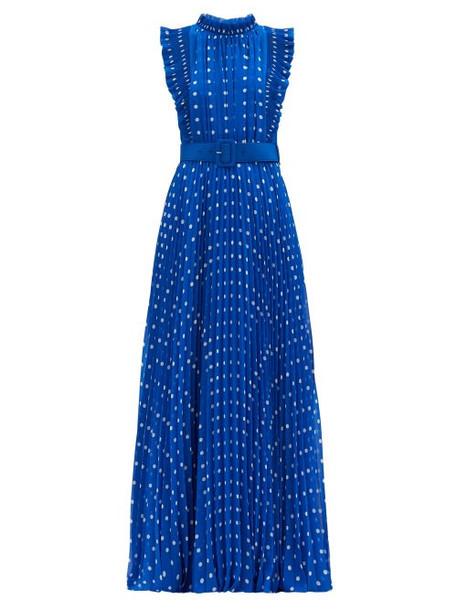 Self-portrait - Polka-dot Plissé-pleat Chiffon Gown - Womens - Blue