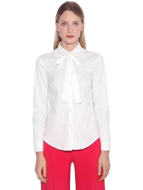 RED VALENTINO Ruffled Cotton Poplin Shirt in white