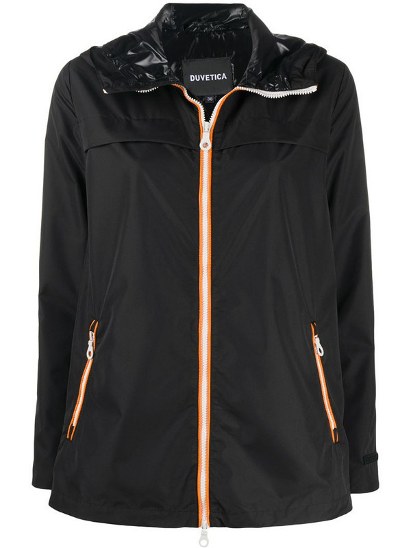 Duvetica hooded zipped jacket in black