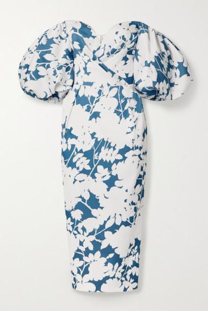 RASARIO - Off-the-shoulder Floral-print Satin Midi Dress - White