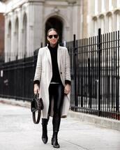 pants,leather leggings,black leggings,black boots,ankle boots,fendi,black bag,patent bag,coat,black sweater,turtleneck sweater