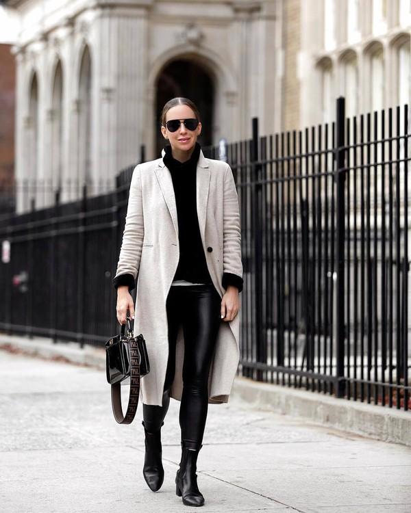 pants leather leggings black leggings black boots ankle boots fendi black bag patent bag coat black sweater turtleneck sweater