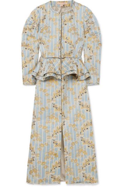 Brock Collection - Metallic Brocade Peplum Midi Dress - Light blue