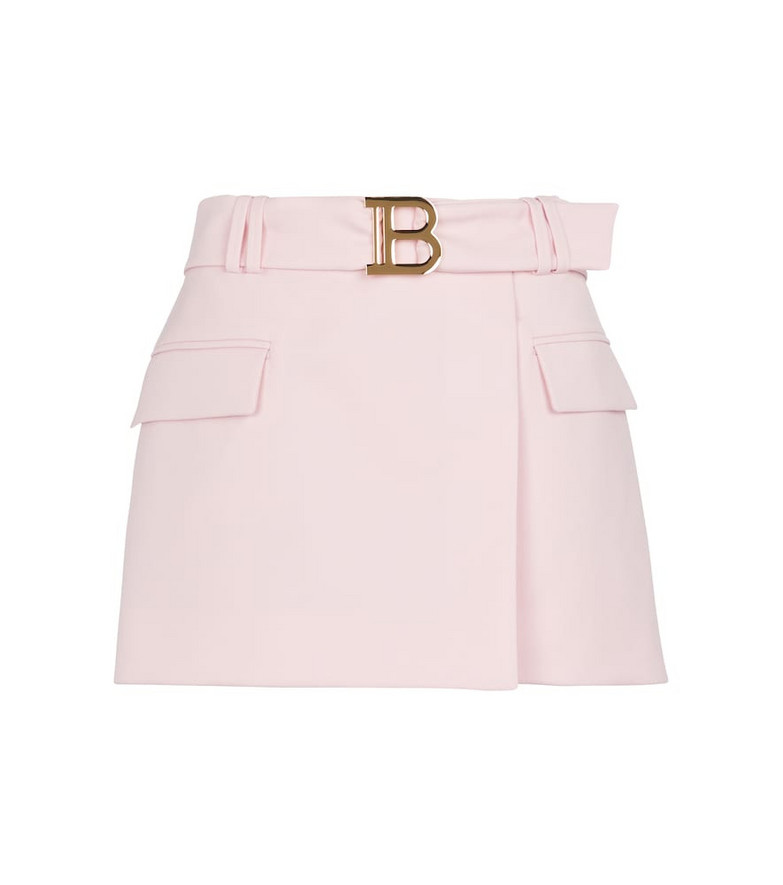 Balmain Wool miniskirt in pink