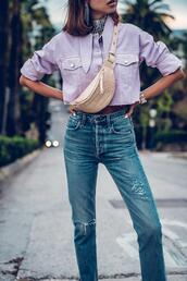 viva luxury,blogger,bag,belt,jacket,jewels,shoes,belt bag,purple shirt