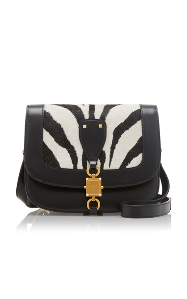 Valentino V-Locker Zebra Print Haircalf and Leather Saddle Bag in black / white