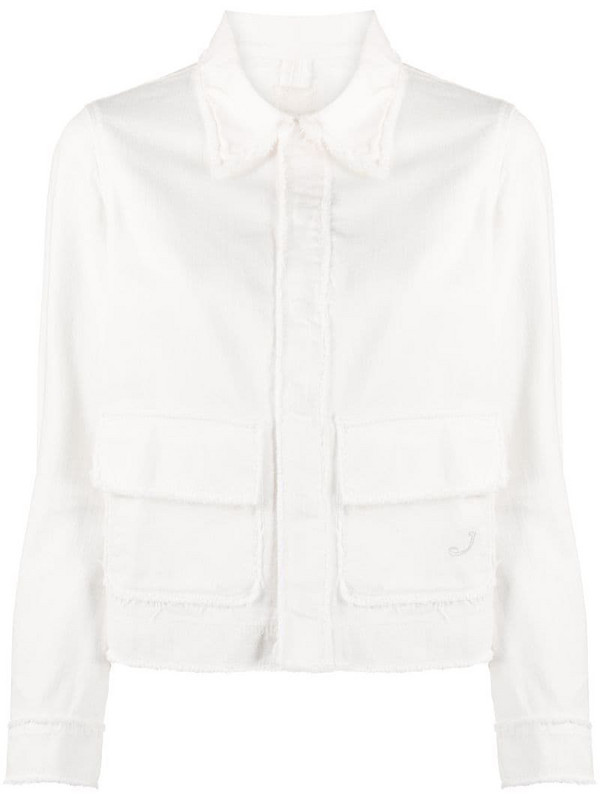 Jacob Cohen frayed-hem denim jacket in neutrals