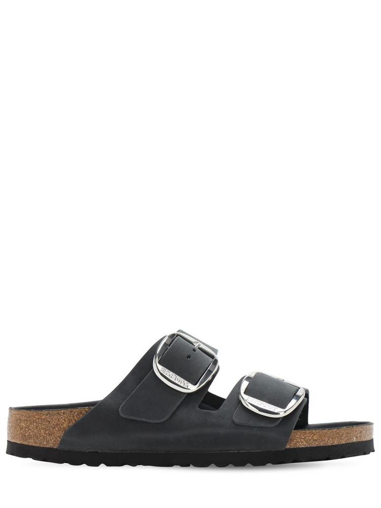BIRKENSTOCK Arizona Oiled Leather Big Buckle Sandals in black