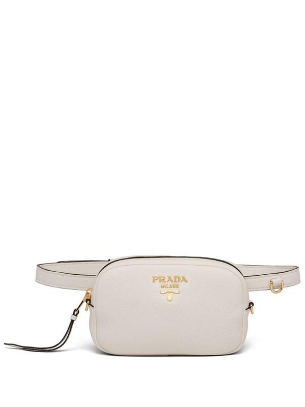 Prada logo belt bag in white